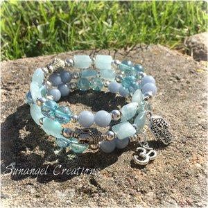 Armband med aqua aura, akvamarin och angelit