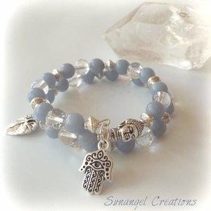 Wraparmband med bergkristall och angelit