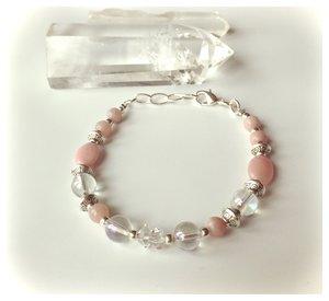 Armband med rosa opal, angel aura och herkimerdiamanter
