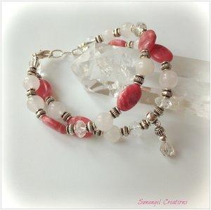 Armband med rhodokrosit, facetterad bergkristall och herkimer-hänge