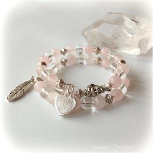 Wraparmband med rosenkvarts och bergkristall