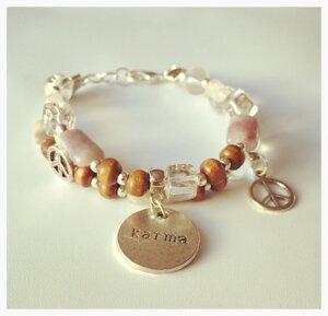 Armband med vattenmelonturmalin, rosenkvarts, bergkristall och träpärlor