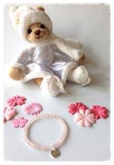 Barnarmband med rosenkvarts och silverhjärta