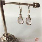 Silver-örhängen med rosenkvarts