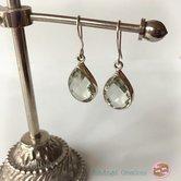 Silver-örhängen med priasolit (grön ametist)