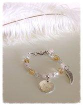Armband med citrin, rosenkvarts och herkimerdiamanter